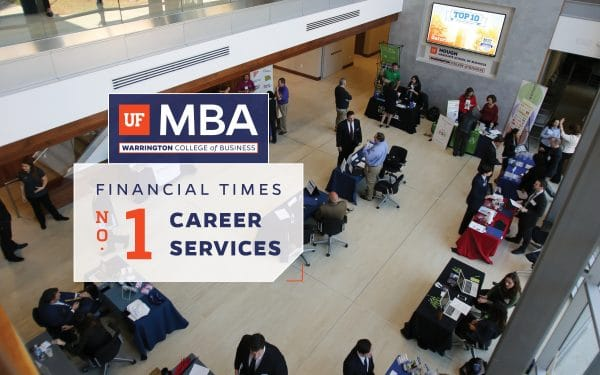 Arial view of Hough Hall with recruiters tabling about careers with a text box overlay that reads UF MBA Financial Times No. 1 Career Services.