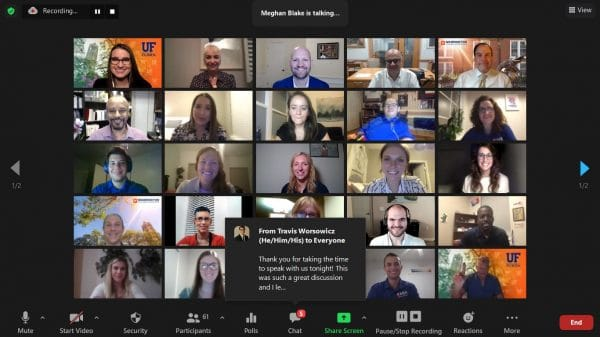 Zoom video call with 25 individuals
