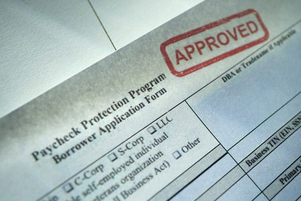 shot of approved paycheck protection application