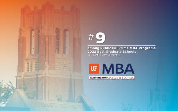 View of the top of Century Tower with text overlay that reads #9 among Public Full-Time MBA programs 2022 Best Graduate Schools US News & World Report
