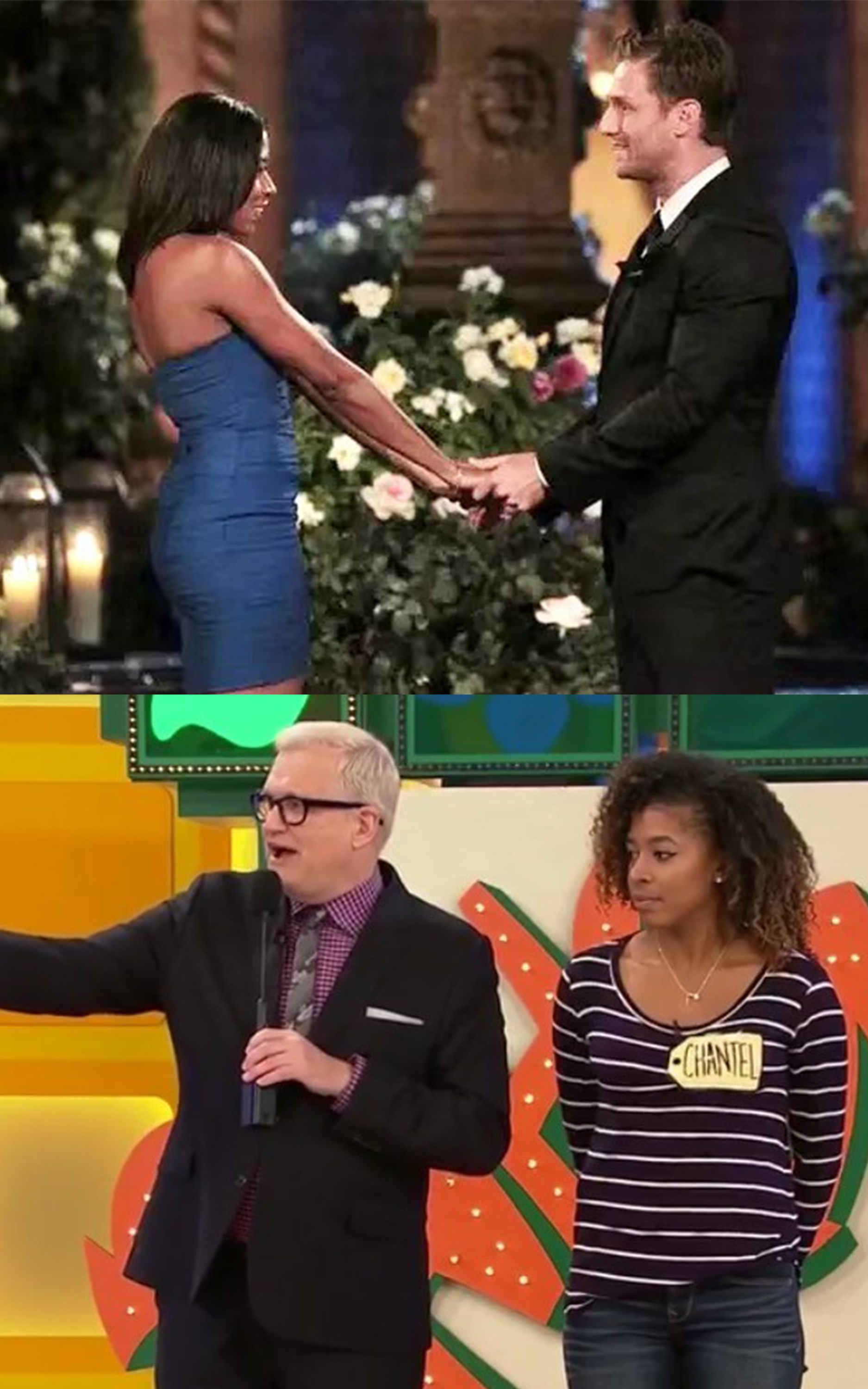 Two stacked photos of Chantel Forrest. The first holding hands with a man on The Bachelor and the second standing next to the host of The Price is Right.