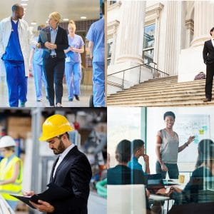 Four photo quadrants with images of various professionals at work, including medical professionals, lawyers, engineers and communications professionals.