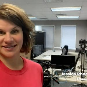 Warrington alumna Jessica Rhodes shares a video message upon winning the No. 1 spot on the Gator100 list from her company's office.