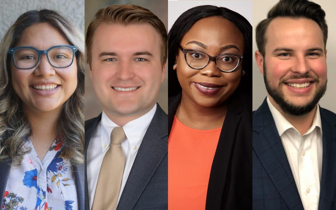 Weekend Professional MBA Class of 2022 students Veronica Perez, Jason Roegner, Darline Stinfil and William Lee.