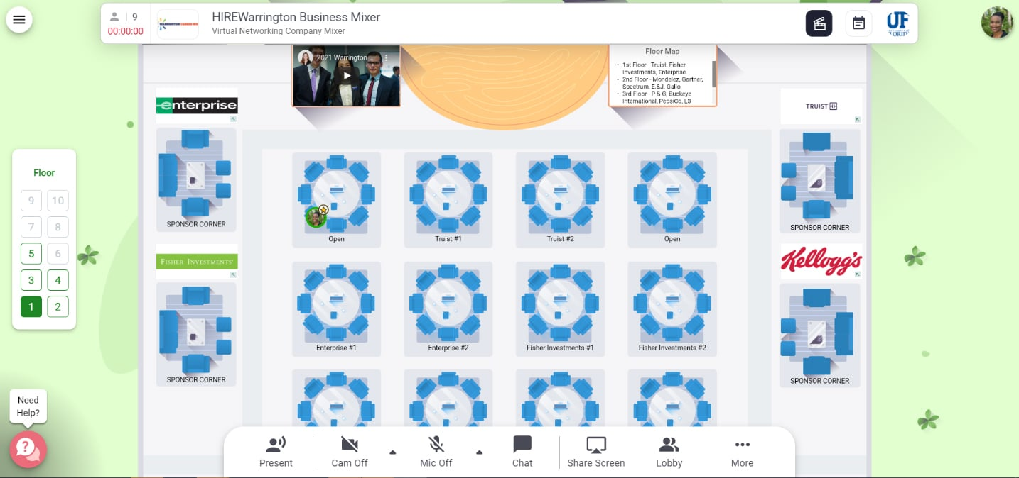 A layout of virtual tables lined up for a networking event.