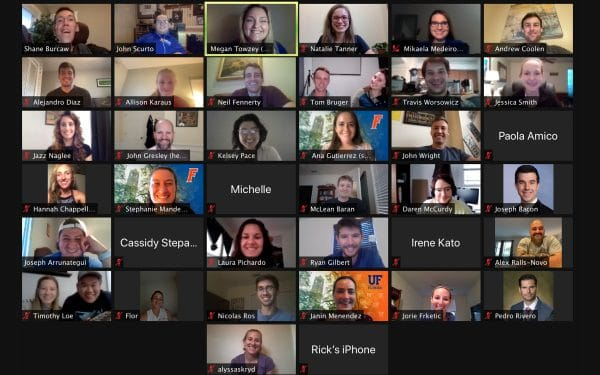 A Zoom call screen with about 40 UF MBA students attending a Q&A event with Shane Burcaw.