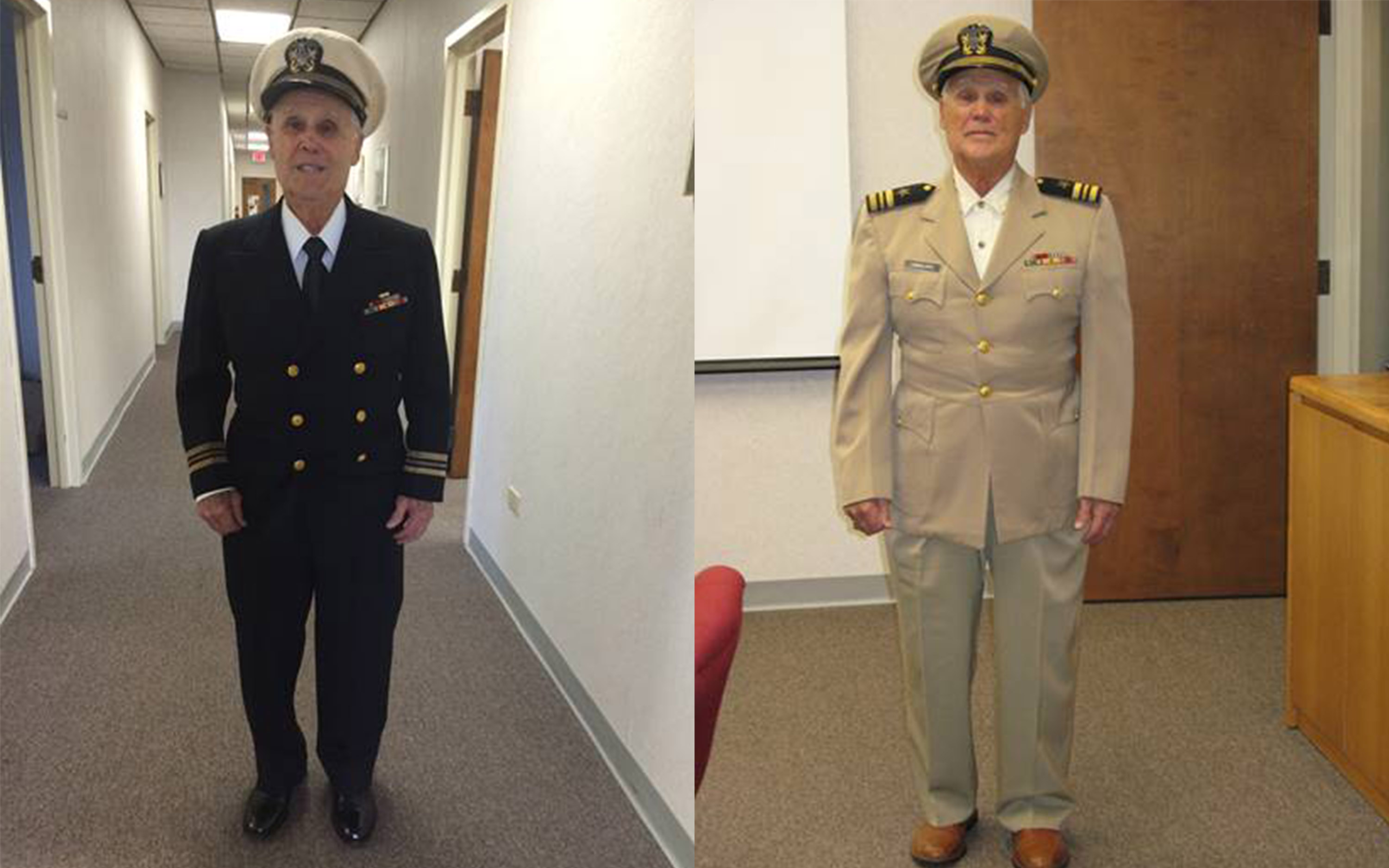 Side-by-side images of Robert Lanzillotti in two of his US Navy uniforms from WWII.