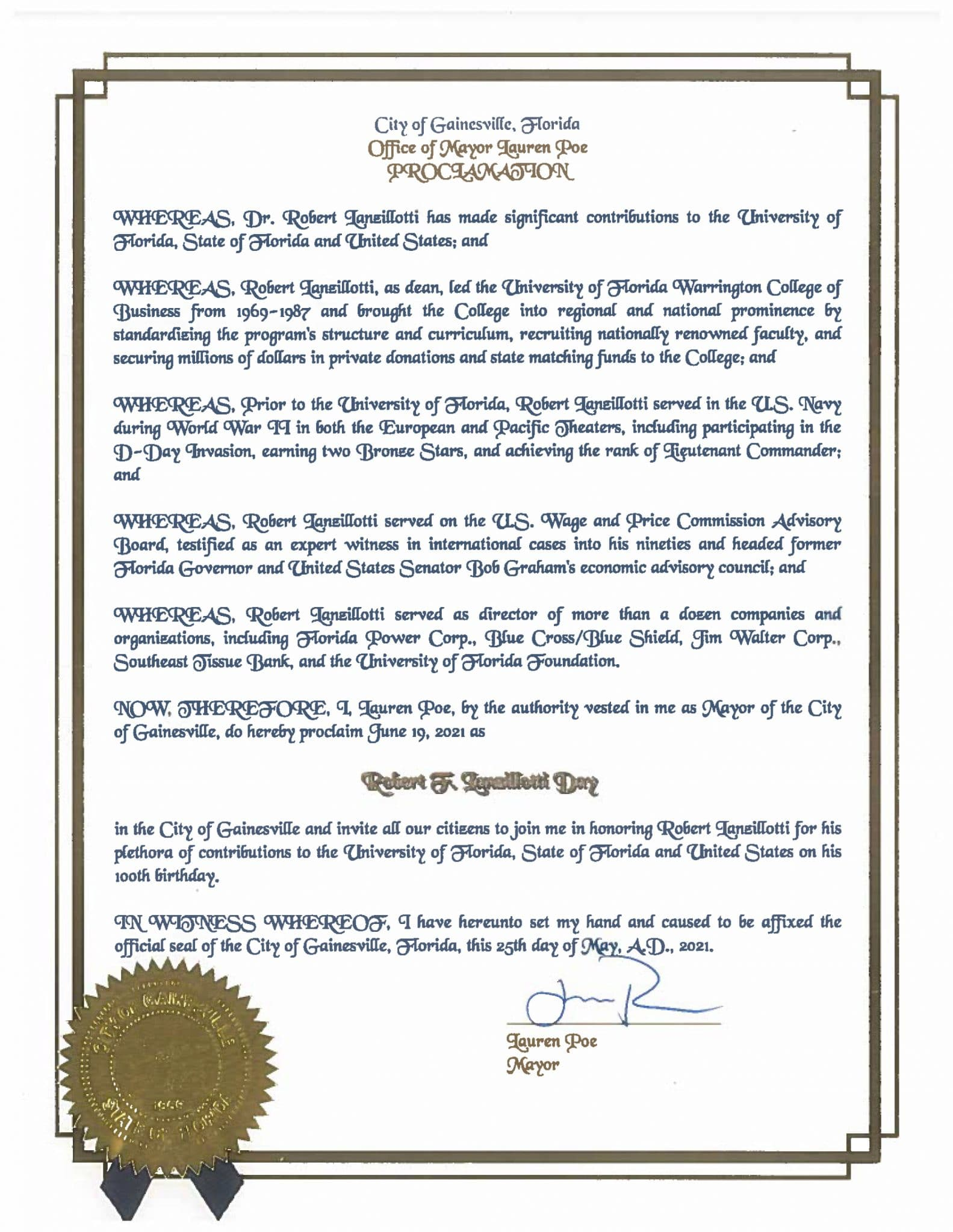 Proclamation from the City of Gainesville in honor of Robert Lanzillotti
