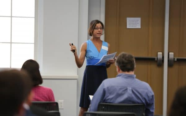 Kristin Joys presents at an the Business for Good Lab Final Presentations