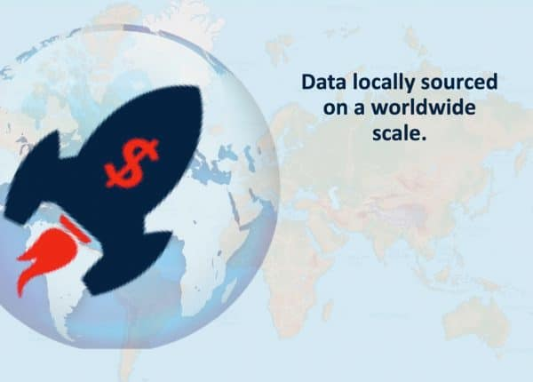 Graphic of a world map in the background with a globe in the foreground. Globe has a rocket ship design on top with a dollar symbol. To the right of the rocket ship is text that reads data locally sourced on a worldwide scale.