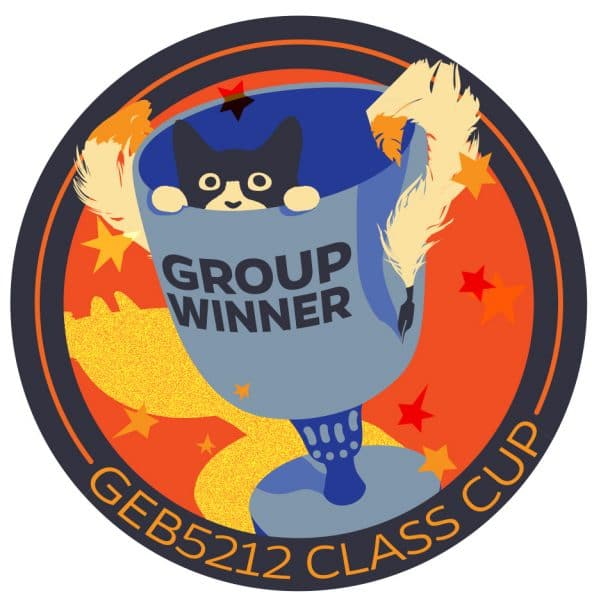 """Sticker featuring a black and white cat peeking out of the top of a goblet-style cup with the worlds 'Group Winner' written on top all on an orange background with text below that reads """"GEB5212 Class Cup"""""""
