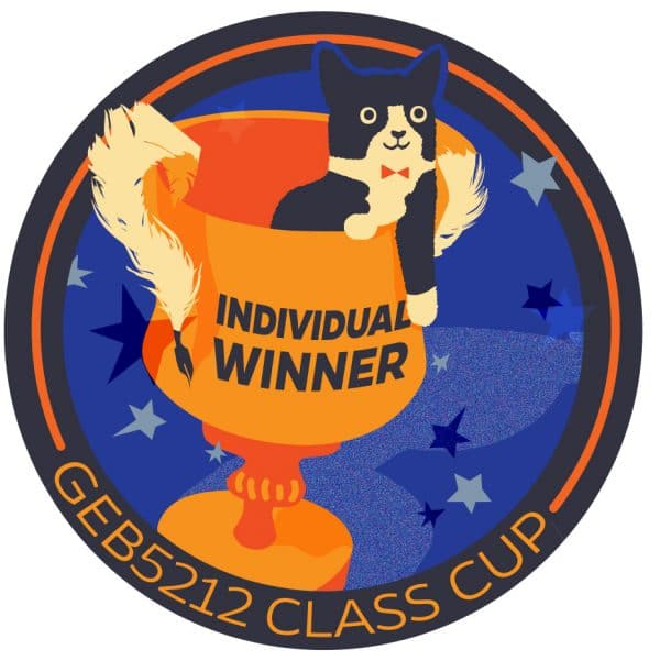Sticker featuring a black and white cat sitting in a goblet-style cup with Individual Winner written on top of the cup all on a blue background with text below reading GEB5212 Class Cup