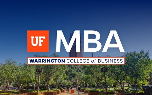 Photo of UF's Century Tower surrounded by trees with the UF MBA logo in the foreground.