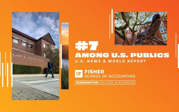 #7 Among U.S. publics US News & World Report Fisher School of Accounting text on orange background with photos of a building on campus and a bronze Gator statue.