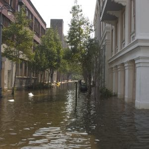 One of the less flooded steets in downtown New Orleans after Hurricane Katrina.