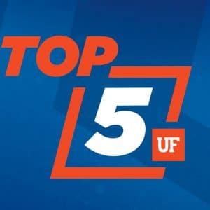 Orange and white text reading top 5 text with UF logo on top of a blue background