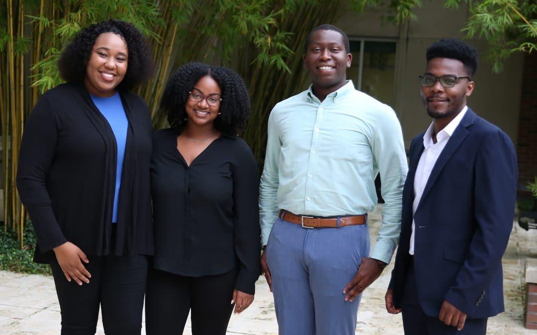 Pozen Scholars (from left) Fedia Deshommes, Alexandrea Perkins, Brandon Harris and Daniel Mbeyah.