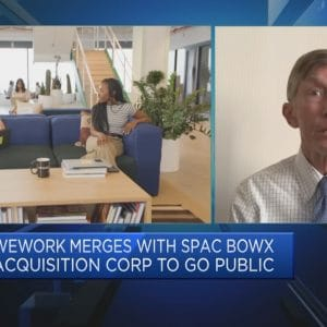 Side by side view of a WeWork office and Jay Ritter talking on CNBC's Squawk Box