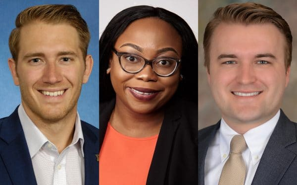 UF MBA Weekend Professional Class of 2022 students Everett Kennedy, Darline Stinfil and Jason Roegner.